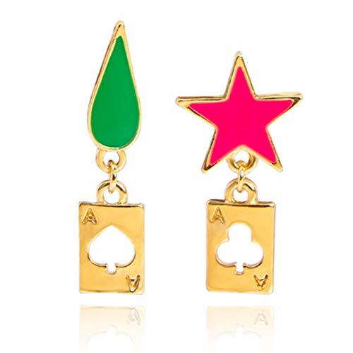 Saicowordist Hunter × Hunter Anime Hisoka Goldene Ohrringe Pentagramm Tropfen Logo Legierung Ohrstecker Cosplay Spielkarte Ohrringe Unisex Geschenk für Fans