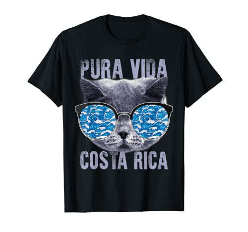 Pura Vida Costa Rica Cat Gafas de sol Gatito vacaciones de verano Camiseta
