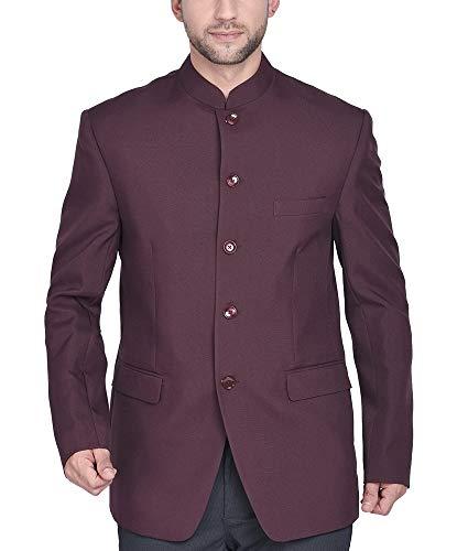 BLACKSMITH Men's Regular Fit Bandhgala Blazer (BLJODHPURI_POLYESTER_MAROON_44_Maroon_44)