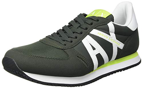 Armani Exchange Herren Rio Retro Running Sneaker, Fango+Off White, 46 EU