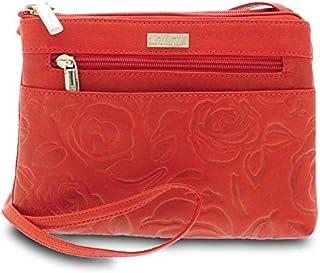 GIUDI ® - Borsa Donna in pelle vitello, stampa rose, borsa tracolla, Made In Italy, vera pelle. (Rosso)