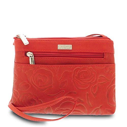GIUDI ® Damen Tasche aus Kalbsleder, Rosendruck, Umhängetasche, Made in Italy, Echtleder, rot (Rot) - 5466/STR/VLV