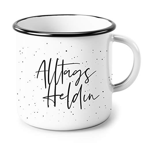 Heldenglück Emaille Tasse | Tasse | Emailletasse | Alltagsheldin | Geschenk | Frau | Freundin | Becher | Kaffeetasse | Geburtstagsgeschenk