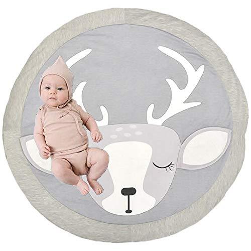 Estera de Arrastre para Bebé,Bebé Alfombra Redonda Crawl Mat,Alfombrillas para bebé Unisex,Alfombrilla de Juego para Bebés,Alfombra para Bebé de Dibujos Animados. (Alce)