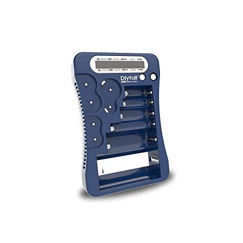 DLYFULL Testeur de batterie LCD universel pour piles AA, AAA, C, D, 9 V Testeur de batterie numérique pour piles bouton CR123A, CR2, CRV3, 2CR5, CRP2 bleu
