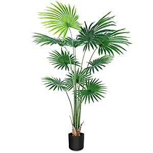 CROSOFMI Artificial Desert Fan Palm Tree 5.2 Feet Fake California Palm Plant,Perfect Faux Fan Palm Plants in Pot for Indoor Outdoor House Home Office Garden Modern Decoration Housewarming Gift