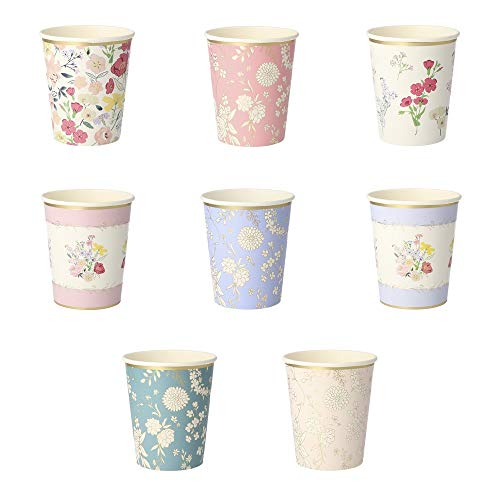 Meri Meri English Garden Party Cups featuring 8 different designs