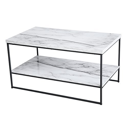 Tilly Lin 2 Tier Faux Marble Coffee Table, Water Resistant Accent Cocktail Table with Lower Storage Shelf, Carrara