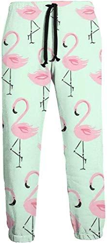 Cute Bi Flamingo Ananas Herren Jogginghose mit Taschen Kordelzug Elastische Taille Athletic Pants für Jogging Workout Gym Running Training XL