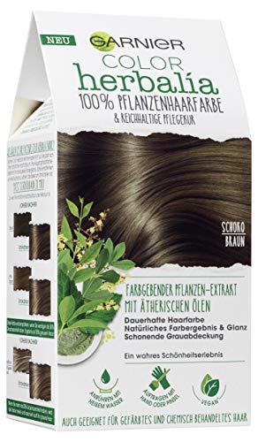 Garnier Color Herbalia Schokobraun, Pflanzenhaarfarbe mit Henna, Indigo und ätherischen Ölen, vegane Haarfarbe (3 Stück)