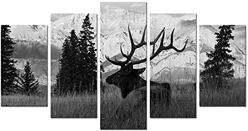 Imágenes de alces Pintura de animales salvajes Impresión en lienzo Blanco y negro 5 piezas de arte Marco de estiramiento Sala de estar Decoración de la pared (59.1 'x31.5') 150x80cm Ciervo 6