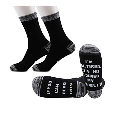 JXGZSO2Pairs Retirement Gift Retirement Socks If You Can Read This I'm Retired Socks Gift for Retirees (No Longer My Problem)