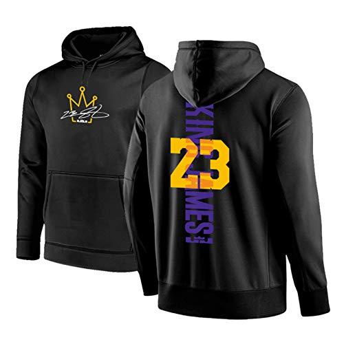 CNMDG Lebron James Herren Basketball Hoodies, Lakers 23# Little Kaiser signiert Edition Sweatshirt Hoodie, Unisex Retro Langarm Gestickte Basketballplatte Black-L