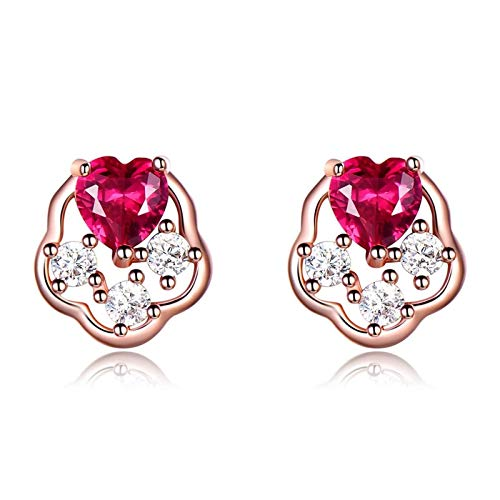 Dreamdge Sterling Silver Earrings for Women Hollow Flower Heart Shape, Rose Gold and Rose Red Stud Earrings Heart Created Ruby
