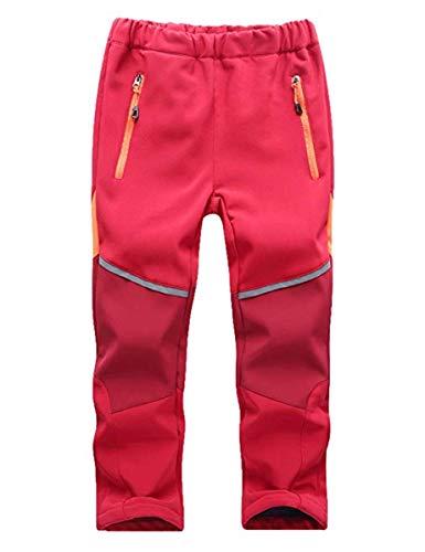 FAIRYRAIN Kinder Jungen Mädchen Winter Warm Softshellhose mit Fleecefütterung Wasserabweisend Winddicht Atmungsaktiv Outdoorhose Skihose Wanderhose Regenhose Sporthose XL Rot