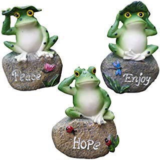 QCUTEP 3PCS Frog Garden Statues, Miniature Frog, Frog Figurine Decoration for Outdoor Fairy Garden, Random Style