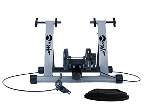 Velo Pro Turbo Trainer | Variable Resistance Magnetic Indoor Bike Trainer for Road & Mountain Bicycles | Stationary Exercise Bike Training Stand | Folding Steel Frame | 26' - 28', 700C Wheels (Silver)
