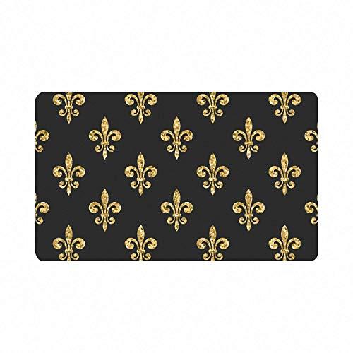Gold Nicht wirklich Glitter Fleur De Lis Blumiger Rutschfester Eingangsteppich Outdoor/Indoor Langlebige & wasserdichte maschinenwaschbare Türmatte
