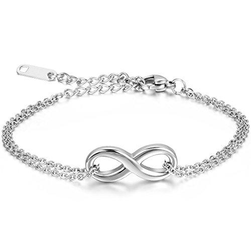 JewelryWe Schmuck Damen Armband Fußkette, Lieben Infinity Zeichen Charm Armreif Fußkettchen, Edelstahl, Silber - 16.5cm Länge - kostenlos Gravur