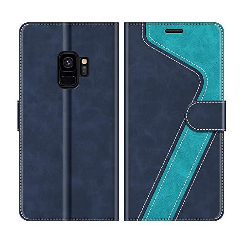 MOBESV Handyhülle für Samsung Galaxy S9 Hülle Leder, Samsung Galaxy S9 Klapphülle Handytasche Hülle für Samsung Galaxy S9 Handy Hüllen, Modisch Blau