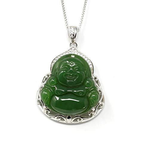 Baikalla Jewelry Jade Buddha Necklace – Natural Nephrite Jade Necklace for Women and Men – 925 Rhodium Plated Silver – Premium Zircon Details – Exquisite Craftsmanship – Adjustable Length Buddha Chain