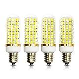 E12 LED Bulb Dimmable 8W C7 Bulb Equivalent to 60W 75W Halogen Bulb,Daylight White 6000K T6 Base E12 Candelabra Light Bulbs for Chandelier Ceiling Fan, AC110-130V Asilumi [4-Pack]