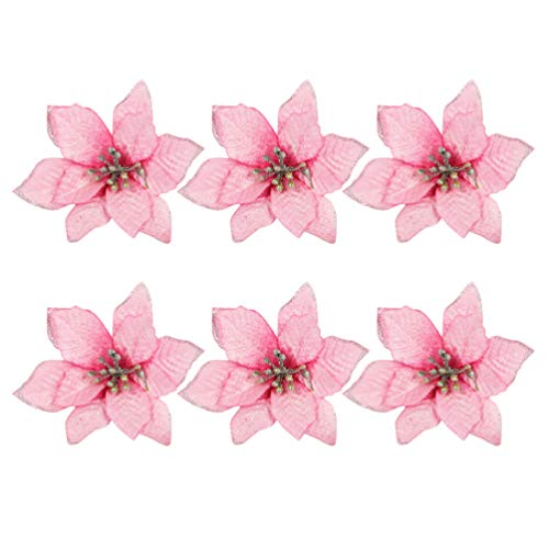 TOYANDONA 24pcs Artificial Christmas Flowers Pink Poinsettia Christmas Tree Ornaments(13cm)