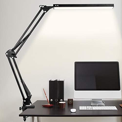 Schreibtischlampe LED MINLUK Schreibtischleuchte Klemmbar, 3 Farbtemperaturen 10 Helligkeiten Dimmbar Architektenlampe mit Schwenkarm, 10W Bürotischlampe Augenschutz für Büro, Lesen, Arbeiten, Lernen