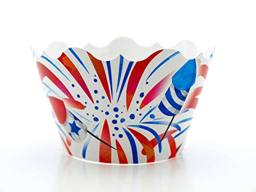 4th of July Party Supplies Cupcake Wrappers (12 Pack) - USA Red, White & Blue Independence Day Party...