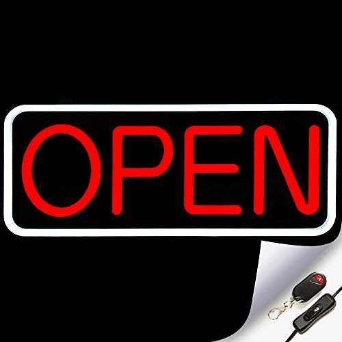 Large Flashing LED Neon Open Sign Light for Businesses with Remote – Extra Bright Lightweight & Energy Efficient - for Restaurants Offices Retail Shops Window Storefronts – White - Red