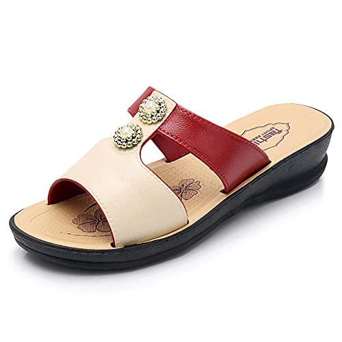 ypyrhh Sandalias de Punta Descubierta,Sandalias de Moda Fuera de la Moda,Sandalias descuidadas.-Vino Tinto_39,Zapatillas de Estar por Casa de Mujer/Hombre