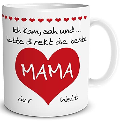 TRIOSK Tasse Mama mit Spruch lustig Ich kam sah und hatte direkt die beste Mama der Welt Geschenk für Muttertag Geburtstag Muttertagsgeschenk Rot