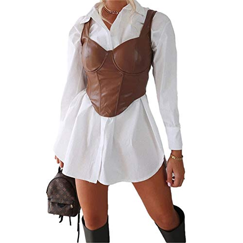 Damen PU Leder Crop Top Schnüren Y2K Spaghettiträger Bustier Korsett Überbrust Taille Tanktops Rückenloses Camis Shirt Streetwear (Braun2, M)