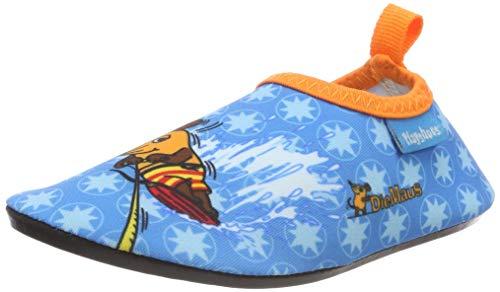 Playshoes Jungen Unisex Kinder Badeslipper Aqua-Schuhe Die Maus, Türkis (Marine 11), 22/23 EU