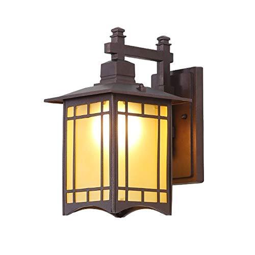 DLGGO Aplique Retro Estilo chino Cuadrado Exterior Impermeable Aluminio Vidrio Linterna Lámpara de pared de estilo japonés Antiguo antiguo Vintage Villa Puerta Hall Jardín Patio E27 / E26 Decoración B