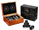 Whiskey Stones Gift Set-10oz Scotch Glasses Whiskey Set-Best-Bourbon Gift for Personalized Men's Alcohol Gift sets - Whiskey Gift set with Whisky Stones-Chills Perfectly with Cool Dice Whiskey Rocks