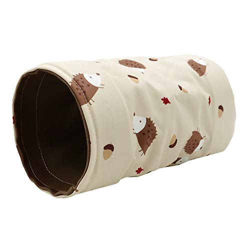 Ymid Select Small Animal Hideout Tunnel Collapsible Pet Play Toy Tunnel Tube for Dwarf Rabbit Hamster Guinea Pig Chinchilla Sugar Glider Hedgehog Supplies (Beige)