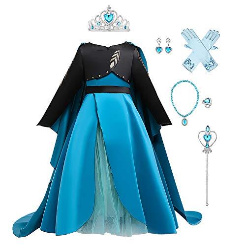 IWEMEK Disfraz de princesa Anna para niña, con capa, 2 piezas, para carnaval, fiesta, Navidad, Halloween, festivo, ropa de 2 a 11 años Blue+Black Set 4-5 Años