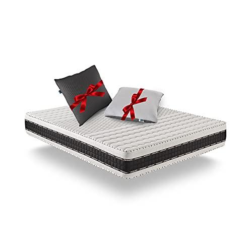 Naturalex | Luxe Memory | Colchón 140x190 Cm Viscoelástico | Gratis 2 Almohadas Fibra 60x60 Cm Tejido 3D | Mejores Núcleos Transpirables | Gel-Fresh Plus de Firmeza Progresiva | 7 Zonas | Reversible