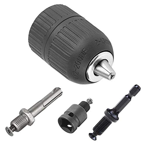 Saiper 2-13mm Heavy Duty Keyless Drill Chuck Quick Change Converter 1/2'-20UNF Thread with SDS-Plus Shank 1/4' Hex Shank 1/2 inch Socket Square Female Adapter