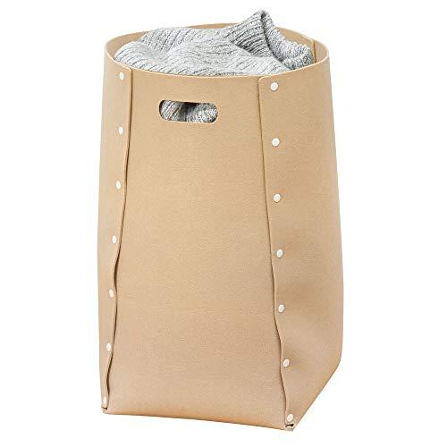 mDesign - Wasmand - voor badkamer en slaapkamer - groot/opvouwbaar/draagbaar/met handvatten - Beige