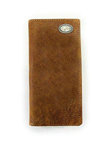 Mens Bi Fold leather Wallet Mossy Oak Camo Western Style Long Checkbook Wallet