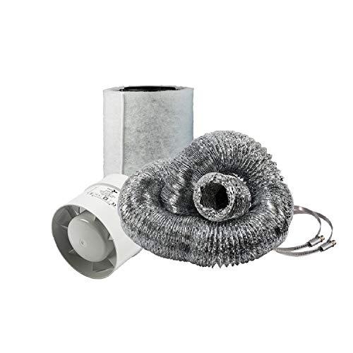 Cultivalley Mini Climate Set - 105m³ Tube Fan & 160m³ Activated Carbon Filter 100mm Ø - Set di scarico per piccole stanze, ad esempio tenda da coltivazione Homebox Darkroom Hydroshoot Grow-Room