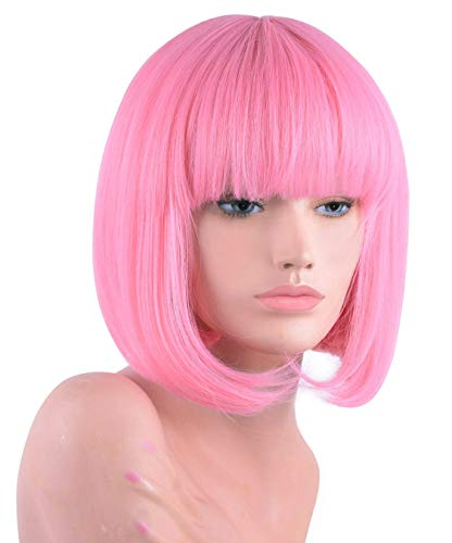 Pastel Pink Short Bob Wig with Bangs for Women 12'' Shoulder Length Heat Resistant Soft Synthetic Pink Wigs (Pink)