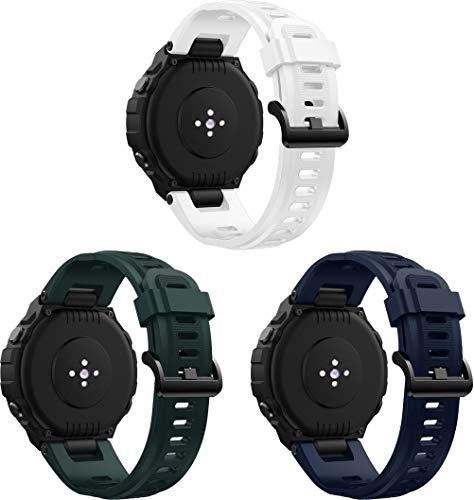 Simpleas Correa de Reloj Recambios Correa Relojes Caucho Compatible con Amazfit T-Rex - Silicona Correa Reloj con Hebilla (3PCS C)