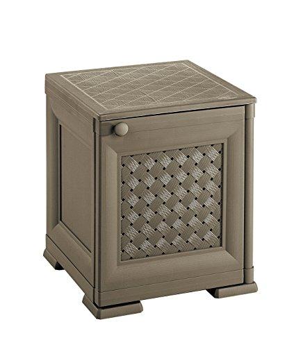 Tontarelli 8085563909 Coffre/Table de Chevets Porte Ajourée Omnimodus Plastique Chocolat