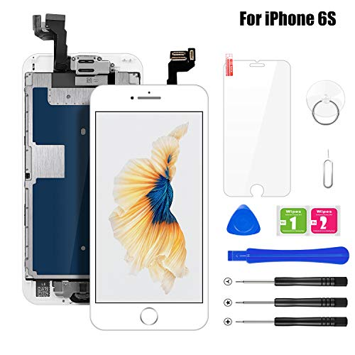 BuTure Kompatibel für iPhone 6S Display Weiß, Ersatz LCD Touchscreen Digitizer Vormontiert mit Home Button, Hörmuschel, Frontkamera Glas und Reparaturset Komplettes Werkzeug