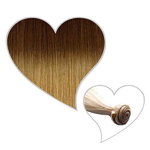 GLOBAL EXTEND® Haartresse 45-47 cm Balayage ombré #06/15 haselnussbraun/chai-blond Echthaar 1 m Tresse zum Einnähen Flechten Microring Remy Weave Sew in Extensions Echthaartresse