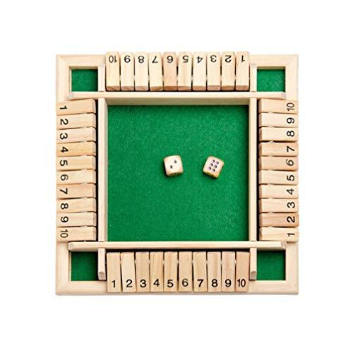 STOBOK Holzbrettspiel mit Würfeln 4-Wege-Shut The Box Würfel Brettspiel Lernspielzeug (Grün)