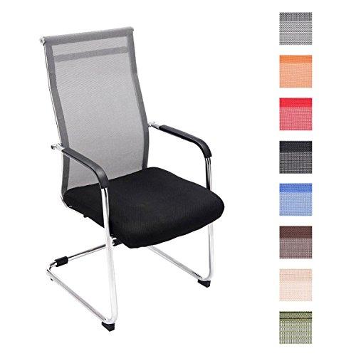 CLP Freischwinger Brenda mit Armlehne und Netzbezug I Bürostuhl mit Bodenschonern I erhältlich, Farbe:grau